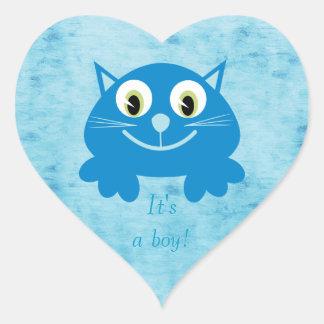 Cute Blue Cartoon Cat Its A Boy New Baby Heart Sticker