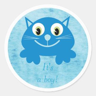 Cute Blue Cartoon Cat Its A Boy New Baby Sticker