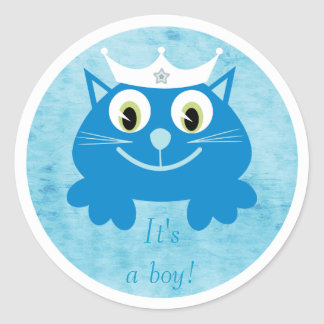 Cute Blue Cartoon Cat Its A Boy New Baby Round Stickers