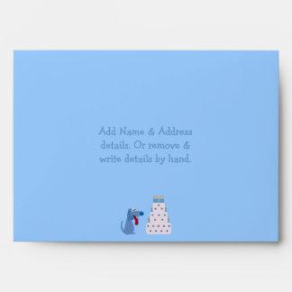 Cute Blue Cartoon Dog & Birthday Cake Party Envelope