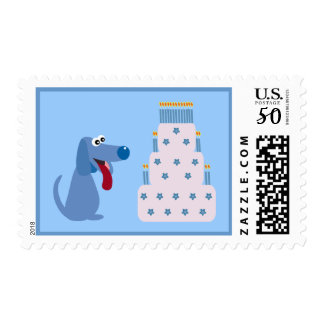 Cute Blue Cartoon Dog & Birthday Cake Postage