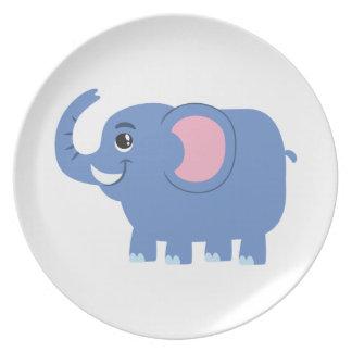 Cute Blue Cartoon Elephant Party Plate