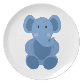 Cute Blue Cartoon Elephant Dinner Plates