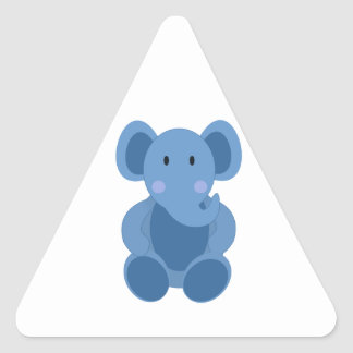 Cute Blue Cartoon Elephant Triangle Sticker