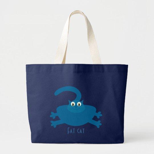 Cute Blue Cartoon Fat Cat Large Tote Bag