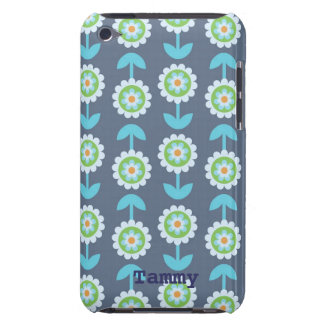 Cute Blue Cartoon Flowers iPod Touch Cover