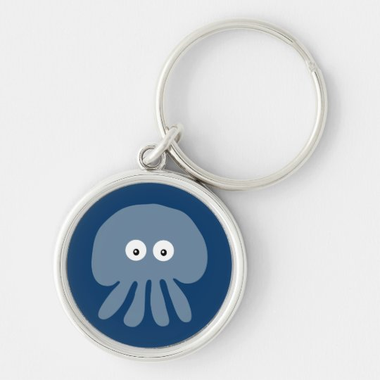 Cute Blue Cartoon Jellyfish / Octopus Custom Keychain
