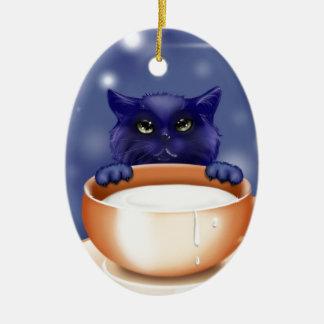 Cute, blue cartoon kitten ceramic ornament
