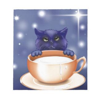 Cute, blue cartoon kitten notepad