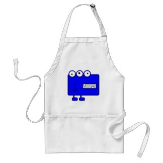 Cute Blue Cartoon Monster Adult Apron