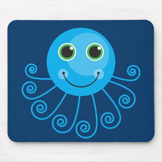Cute Blue Cartoon Octopus Mouse Pad