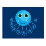Cute Blue Cartoon Octopus Postcard