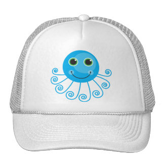 Cute Blue Cartoon Octopus Trucker Hat