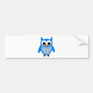 Cute Blue Cartoon Owl Bumper Sticker
