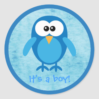 Cute Blue Cartoon Owl Its A Boy New Baby Classic Round Sticker