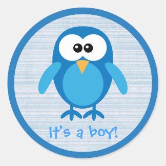 Cute Blue Cartoon Owl Its A Boy New Baby Sticker