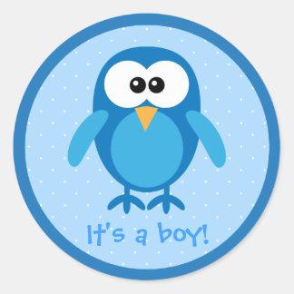 Cute Blue Cartoon Owl Its A Boy New Baby Stickers