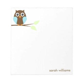 Cute Blue Cartoon Owl Notepad