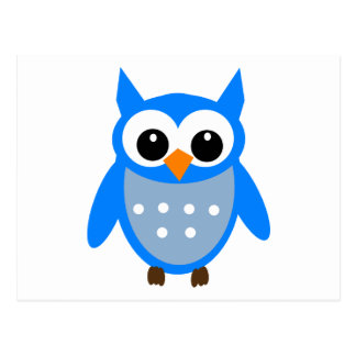 Cute Blue Cartoon Owl Postcard
