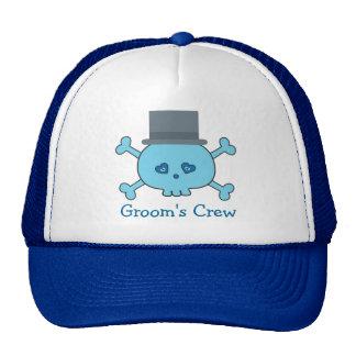 Cute Blue Cartoon Skull Groom's Crew Bachelor Trucker Hat