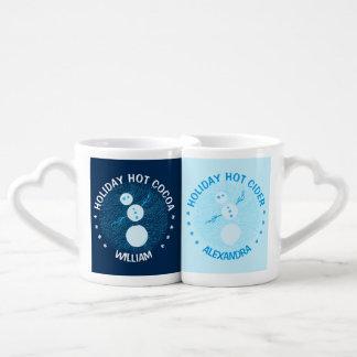 Cute Blue Cartoon Snowman Winter Christmas Holiday Coffee Mug Set