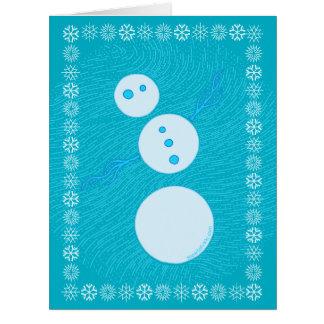 Cute Blue Cartoon Snowman Winter Christmas Holiday Large Greeting Card