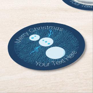 Cute Blue Cartoon Snowman Winter Christmas Holiday Round Paper Coaster