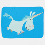 Cute Blue Cartoon Unicorn Baby Blanket