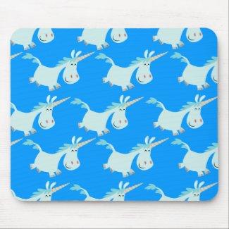 Cute Blue Cartoon Unicorn Herd!! mousepad mousepad