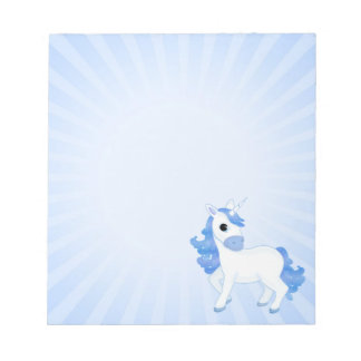 Cute Blue Cartoon Unicorn Small Notepads
