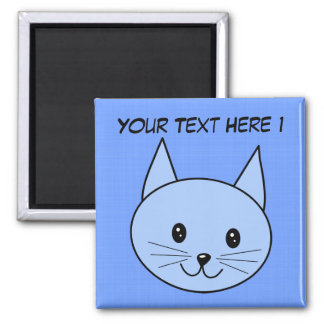 Cute Blue Cat 2 Inch Square Magnet