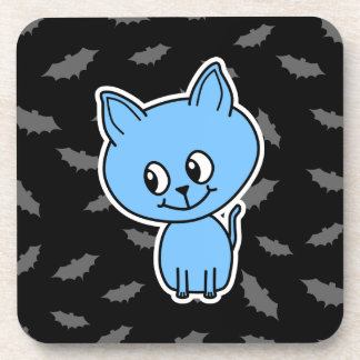 Cute Blue Cat and Bats. Drink Coaster