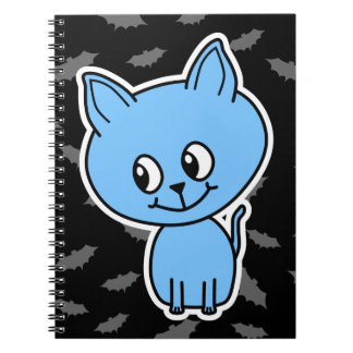 Cute Blue Cat and Bats Notebook