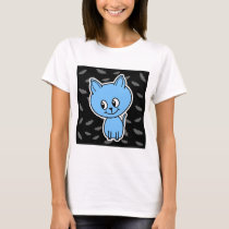 Cute Blue Cat and Bats. T-Shirt