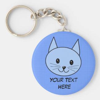 Cute Blue Cat Basic Round Button Keychain