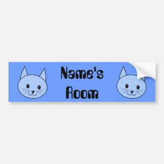 Cute Blue Cat Bumper Sticker