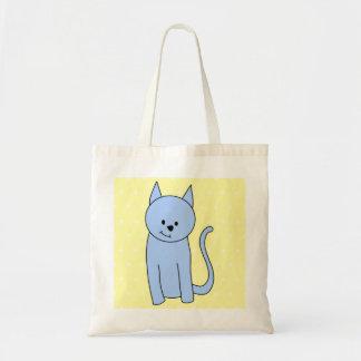 Cute Blue Cat Cartoon Tote Bag