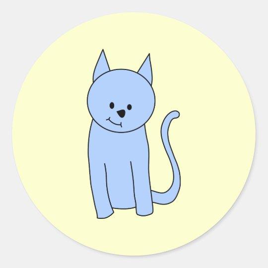 Cute Blue Cat Cartoon Classic Round Sticker