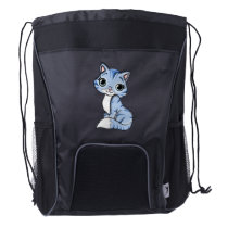 Cute blue cat cartoon drawstring backpack