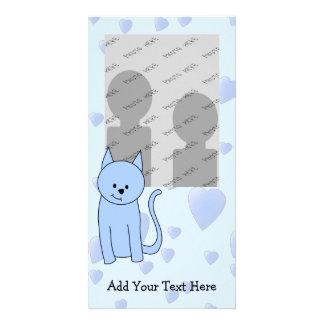 Cute Blue Cat Cartoon Photo Cards