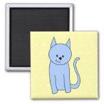 Cute Blue Cat Cartoon Refrigerator Magnet