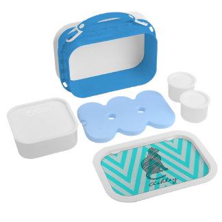 Cute blue cat chevron zigzag monogram lunch box