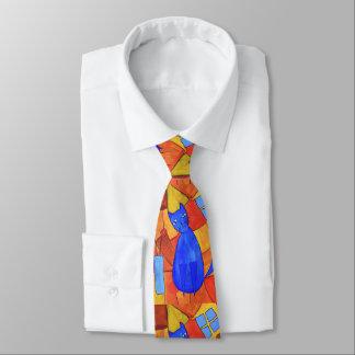 Cute Blue Cat Double Sided Tie