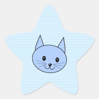 Cute Blue Cat. Light blue stripe background. Star Sticker