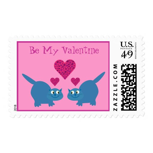 Cute Blue Cats & Hearts Be My Valentine Gay Postage Stamps