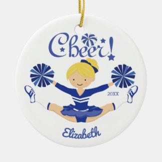Cute Blue Cheer Blonde Cheerleader Personalized Ceramic Ornament