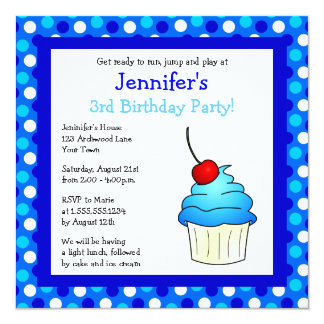 Cute Blue Cherry Cupcake Birthday Party Invite
