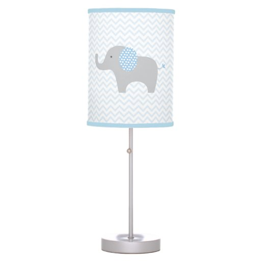 Cute Blue Chevron Elephant Nursery Desk Lamp