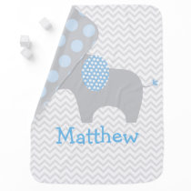 Cute Blue Chevron Elephant Receiving Blanket