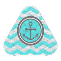 Cute Blue Chevron Pattern Anchor Smile Bluetooth Speaker